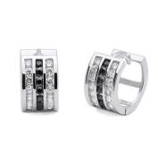 Sterling Silver 7mm Huggie Hoop Earrings CZ White & Black Three Rows 12mm Diameter Silver Earrings