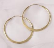 Hammered Brass Hoop Earrings - 3.8cm