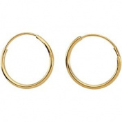 14K Yellow Gold 10mm Children's Endless Hoop Earrings