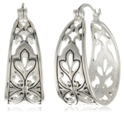 Sterling Silver Bali Inspired Filigree Triangle Shape Hoop Earrings