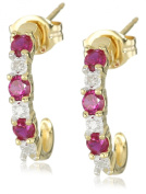 18k Yellow Gold Plated Sterling Silver Created Ruby and Diamond Accent Half-Hoop Earrings