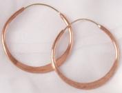 Copper Hoop Earrings, Hammered, 6.4cm Diameter