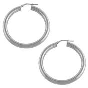 Rhodiumplated Sterling Silver Polished Tube Hoop Earrings