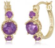 18k Gold Plated Sterling Silver African Amethyst Hoop Earrings