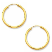 Continuous Endless Round Circle 14k Yellow Gold Hoop Earrings 10mm