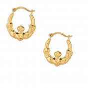 10k Yellow Gold Claddagh Hoop Tubular Earrings 13mm Small