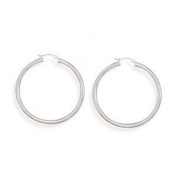 Sterling Silver 3mm x 50 mm Hoop Earrings with Click
