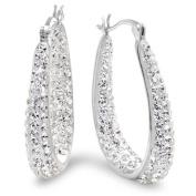 Sterling Silver Crystal Hoop Earrings with. Elements