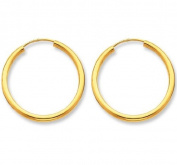 Continuous Endless Round Circle 14k Yellow Gold Hoop Earrings 12mm
