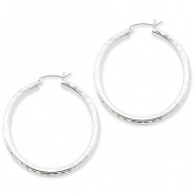 3mm Diamond-cut, Polished Silver Hoops - 50mm