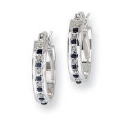 Sterling Silver & Platinum-plated Dia. & Sapphire Oval Hoop Earring