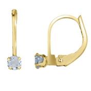 14k Aquamarine Leverback Earrings