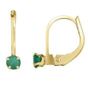 14k Emerald Leverback Earrings