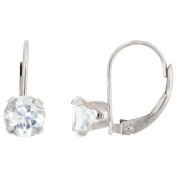10k White Gold Leverback Round Earrings w/ 6mm Brilliant Cut March Birthstone ( Natural Aquamarine Stone ), 9/16 in. (14mm) tall