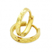 14K Gold Huggie Earrings 2mm Diamond Cut Yellow Gold Huggie Hoop For Babies And Small Kids