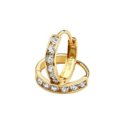 14K Yellow Gold 2mm Thickness 6 Stone CZ Channel Set Polished Hoop Huggies Earrings