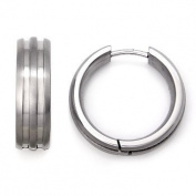 Titanium Huggie Hoop Earrings w/ Grooves