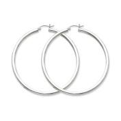 3mm, Silver, Extra Large Hoop Earrings - 70mm