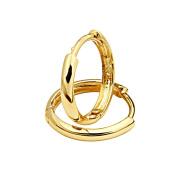 14K Yellow Gold 2mm Thickness Domed Hoop Huggies Earrings