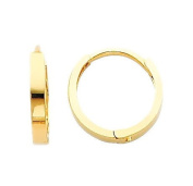 14k Yellow Gold 2mm Small Square Tube Huggies for Kids and Teens
