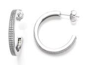 Zoe R(tm) 925 Sterling Silver Micro Pave Hand Set Cubic Zirconia (CZ) Two Row Medium Hoop Earrings