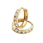 14K Yellow Gold 3mm Thickness 7 Stone CZ Channel Set Medium Polished Hoop Huggies Earrings