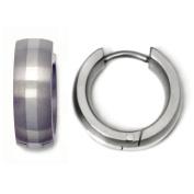 Titanium 14K White Gold Inlay Huggie Hoop Earrings