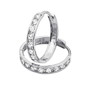 14K White Gold 3mm Thickness 8 stone CZ Channel Set Medium Polished Hoop Huggies Earrings