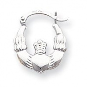 14k White Gold Claddagh Hoop Earrings - JewelryWeb