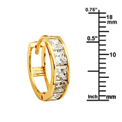 14K Yellow Gold 4mm Thickness Princess 6 Stone CZ Channel Set Large Polished Hoop Huggies Earrings