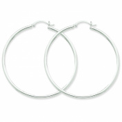 14k White Gold 2mm Round Hoop Earrings. Gold Weight- 3.1g 50mm Diameter.