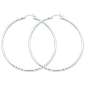 14k White Gold 2mm Round Hoop Earrings. Gold Weight- 3.67g 60mm Diameter.