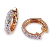 Pave Diamond Hoop Earrings in Yellow Gold