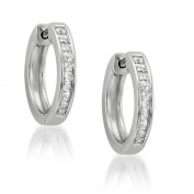 14k White Gold Princess-cut Diamond Hoop Earrings