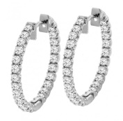 2.50 CT TW Inside/Outside Round Diamond Hoops in 14k White Gold