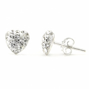 Swaroski White Crystal Heart Shape Sterling Silver Stud Earrings