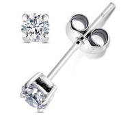 925 Sterling Silver 0.2 tcw Basket Setting 3MM Clear Round CZ Cubic Zirconia Nickel Free Stud Earrings