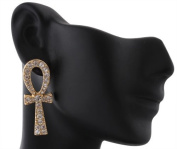 Ladies Gold with Clear Iced Out Ankh Cross Stud Earrings
