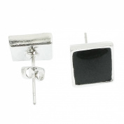 Rosallini Pair Black Silver Tone Square Shaped Ear Stud Earrings for Ladies