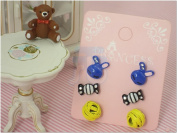 Colour Cute Fashion Stud Earrings, Pack of 3 Pairs, Mix of design