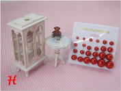 Red Colour Bead Faux Pearl Stud Earrings, Wholesale lot of 12 Pairs, Mix Size