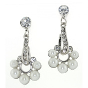 Faux Pearl Flower and Clear Crystal Drop Stud Earrings