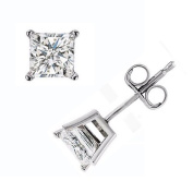 Solid 925 Sterling Silver Classic 4 Prong 6mm Princess Cut 2.50 Total Weight CZ Cubic Zirconia Diamond Stud Earrings with Push Back Setting *Made in the U.S.A.*