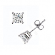 Solid 925 Sterling Silver Classic 4 Prong 4mm Princess Cut 0.80 Total Weight CZ Cubic Zirconia Diamond Stud Earrings with Push Back Setting *Made in the U.S.A.*