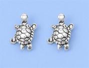 Sterling Silver Sealife Turtle Stud Earrings