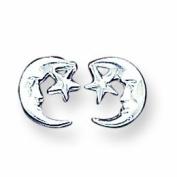Sterling Silver Moon & Star Mini Earrings