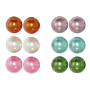 6 Pairs Of 16Mm Pearl Studs (Large!) In Multi/Pastel with Pearl Finish