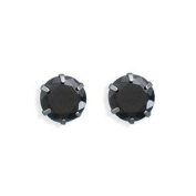 Black CZ Post Stud Earrings 317L Surgical Stainless Steel 7mm