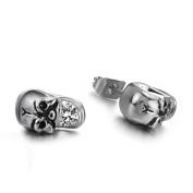316L Titanium Stainless Steel CZ Skull Stud Earrings