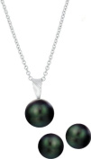 10x10.5mm Black Freshwater Cultured Button Stud Ball Pearl Earrings & Matching Pendant Set